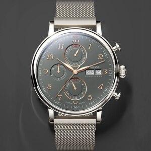 Image 5 - Marque de luxe suisse LOBINNI hommes montres calendrier perpétuel Auto mécanique hommes horloge saphir cuir relogio L13019 9