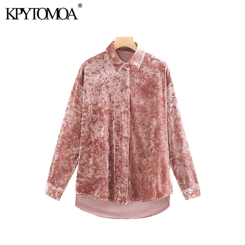 Vintage Stylish Office Wear Velvet Irregular Blouses Women 2020 Fashion Lapel Collar Long Sleeve Side Vents Shirts Chic Tops