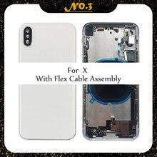 Custodia completa per Iphone X XR batteria coperchio posteriore sportello posteriore telaio centrale telaio + vetro posteriore con assemblaggio parti cavo flessibile