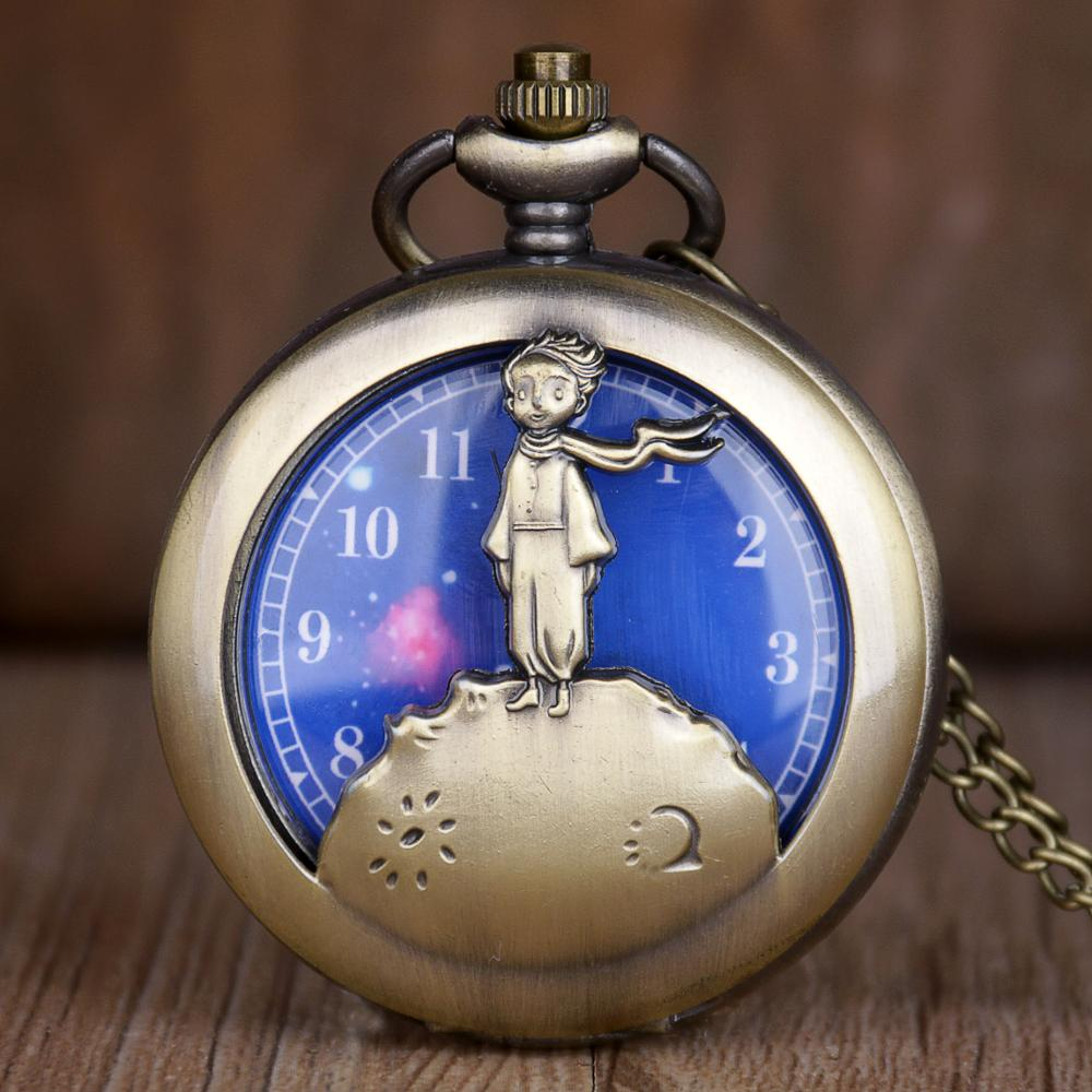 Hot Selling Antique Bronze Little Prince Quartz Pocket Watch Vintage Clock With Fob Chain For Children CF1055