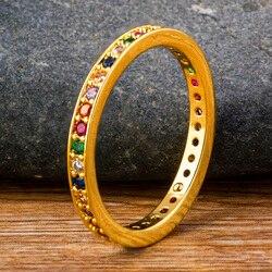 Niestandardowa biżuteria podkreślająca osobowość kolorowe CZ pierścień tęczy proste okrągłe miedziane kobiece pierścienie dla kobiet akcesoria dziewczyna najlepszy prezent