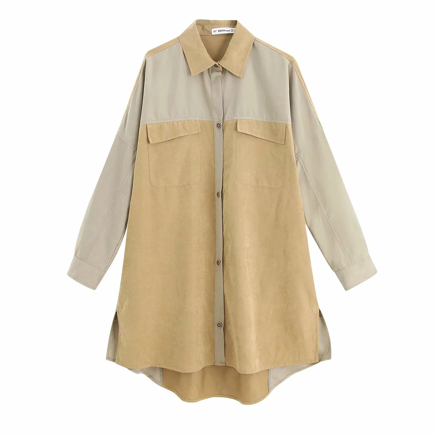 2019 Autumn Clothing New Style Korean-style Loose-Fit Versatile Mixed Colors Workwear Wind RA Shirt Middle Long Coat Women's thumbnail
