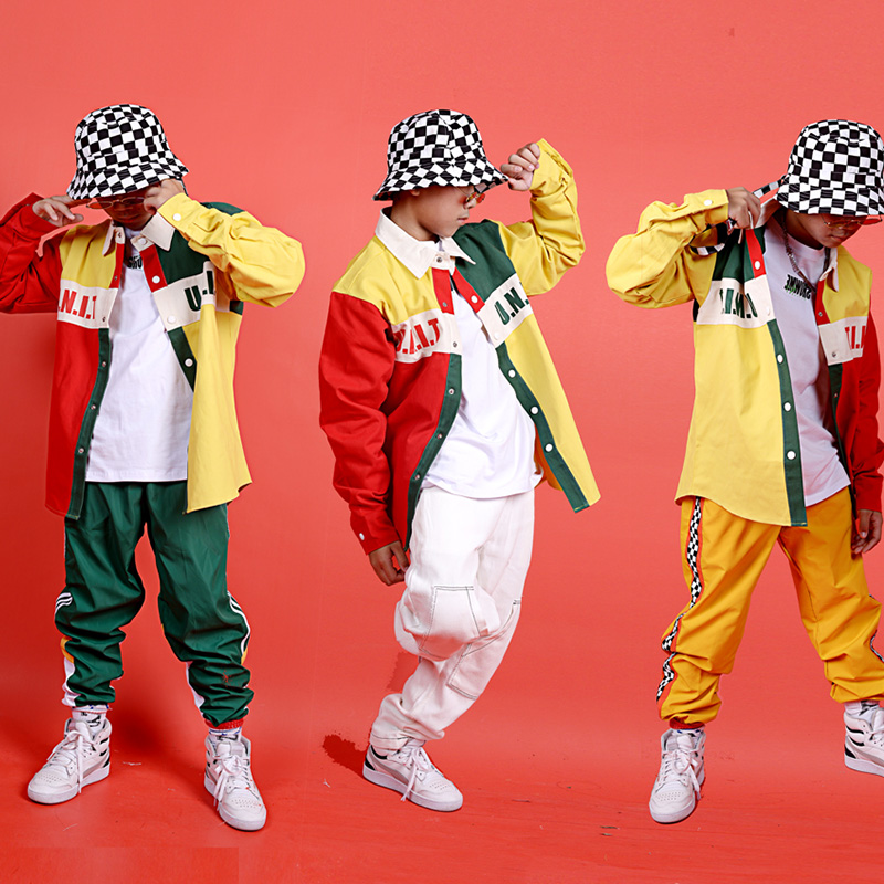 Hip Hop Costumes Children Locking Dance Clothing Boys Street Dancing Outfit Splicing Color Shirt Jacket Modern Stage Wear DN4629