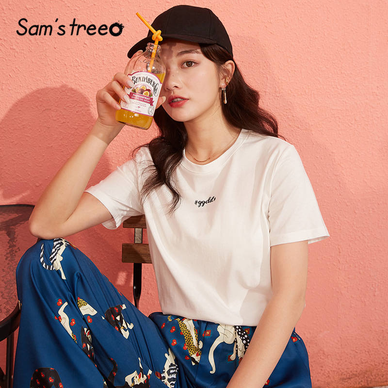 SAM'S TREE Multicolor Solid Letter Print Casual Women T Shirts 2020 New Spring Pure Short Sleeve Korean Ladies Daily Basic Tops