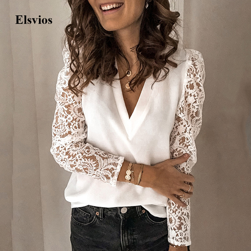 Sexy Hollow Out See-Through Shirt Blouse Elegant Women V Neck Floral Lace Blouse Summer Spring Office Lady Blusa Tops Pullovers
