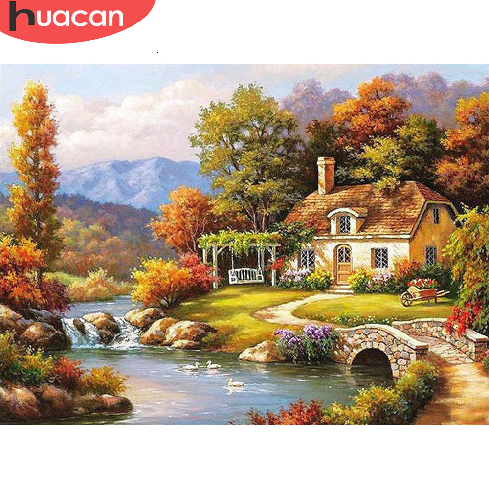 HUACAN Paint By Numbers Scenery Drawing On Canvas HandPainted House Art Gift DIY Picture Kits Home Decor