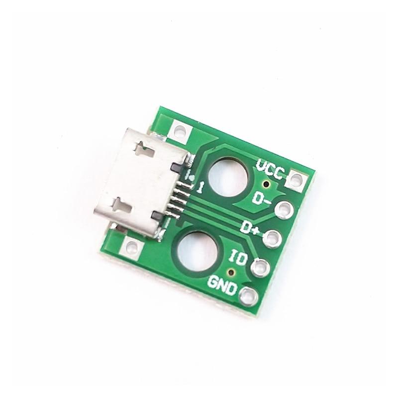 10 шт. микро USB DIP адаптер 5pin гнездовой разъем конвертер печатной платы типа в pinboard 2,54