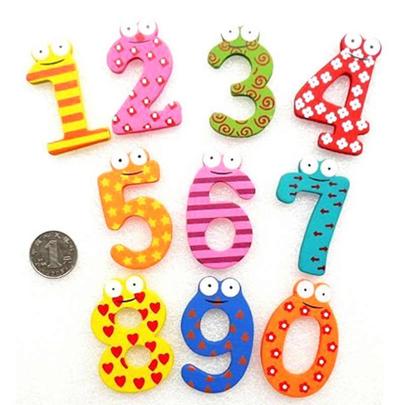 10pcs Del Fumetto Autoadesivi del Frigorifero Digitale Magnetico Cognitivo Del Capretto di Legno di Puzzle Del Giocattolo di Apprendimento Del Bambino Giocattoli Educativi per I Bambini
