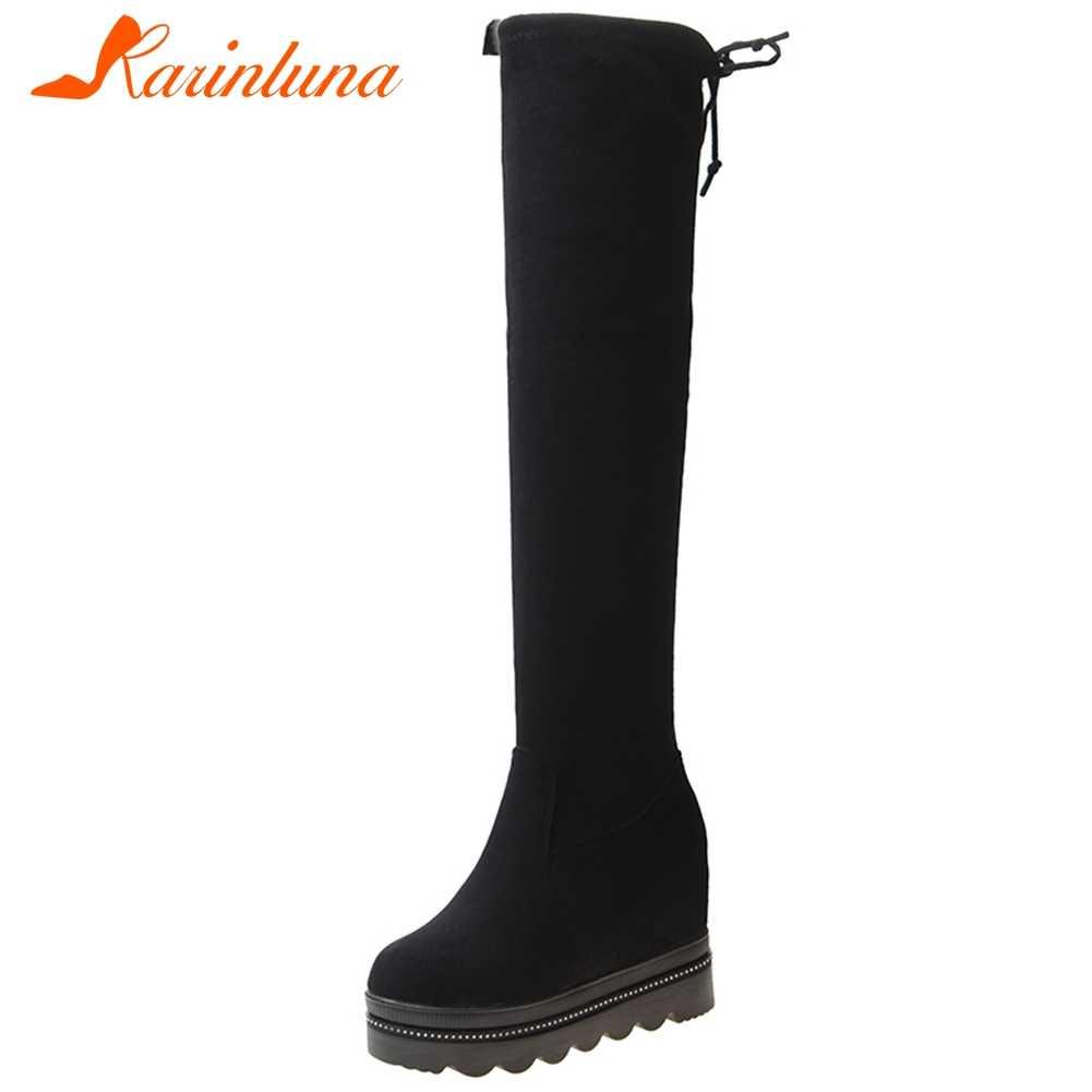 KARINLUNA สาวส้นสูงฤดูใบไม้ผลิรองเท้า Elegant แพลตฟอร์มต้นขาสูงรองเท้าผู้หญิงหวานความสูงเพิ่ม Over-the-เข่ารองเท้าผู้หญิง