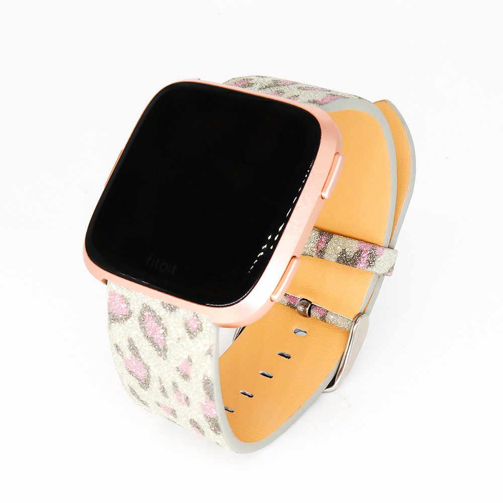 Bling skóra z brokatem zapasowy pasek na nadgarstek pasek do zegarka dla Fitbit Versa Quick Release SmartWatch akcesoria pomocnicze