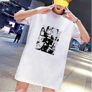 Naruto Akatsuki equipo Pein 7 Anime Uchiha SasukeT camisa vestidos de manga corta blanco Mini Casual moda suelta vestido de verano