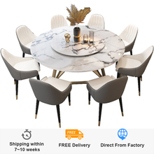 round Nordic dining table with turntable modern minimalist dining table