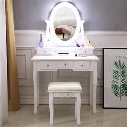 Z żarówką pojedyncze lustro 5 toaletka szufladowa biała