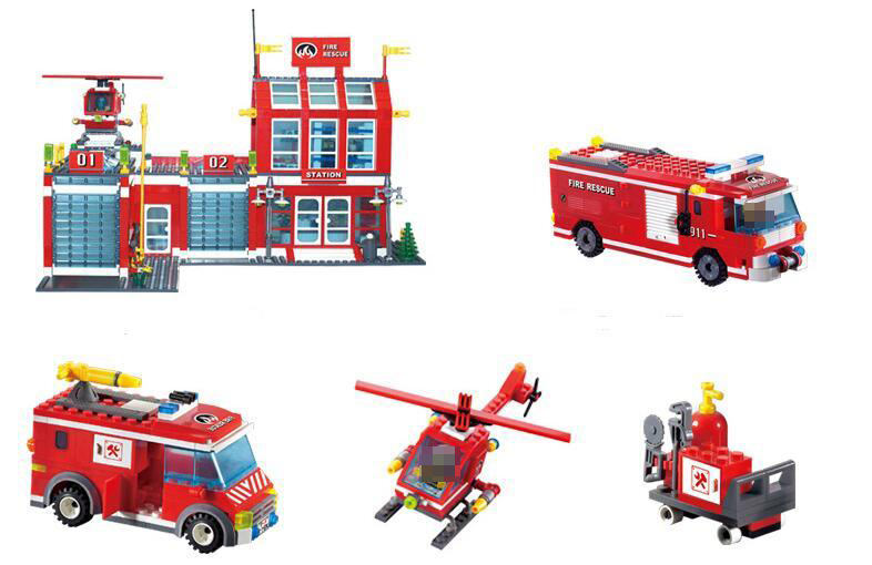 Enlighten 911 970PCs Fire Station Rescue Building Block Toys For Children Compatible legoingly City Firefighter Bricks Firemen