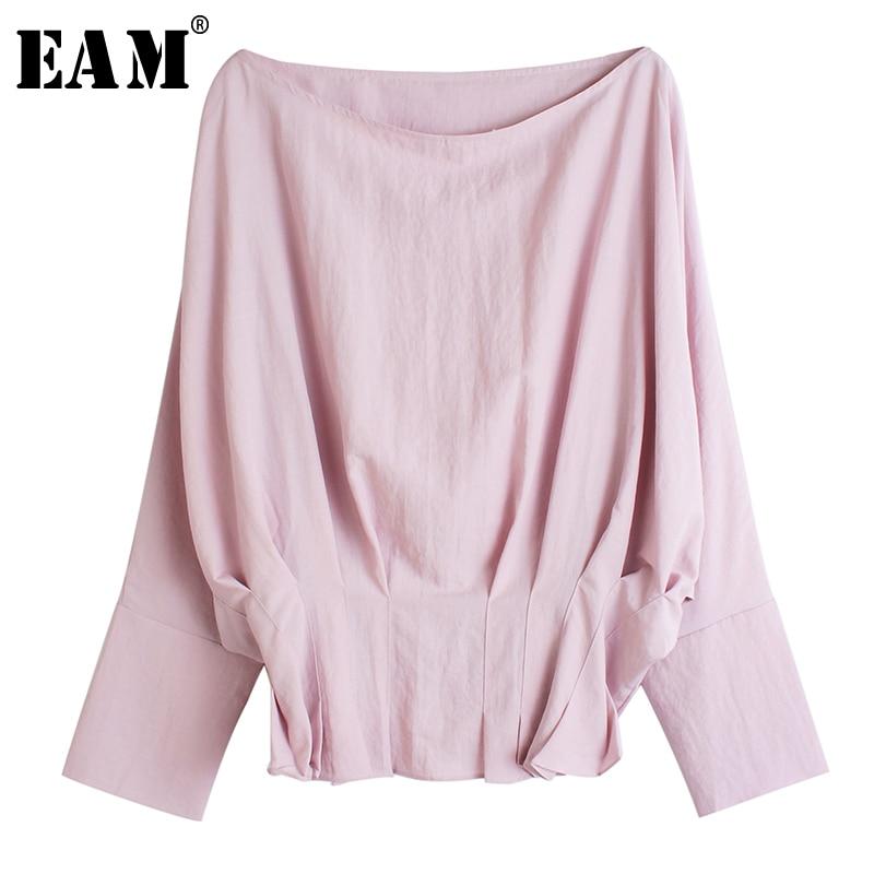 [EAM] Women Black Pleated Split Big Size Blouse New Slash NeckLong Sleeve Loose Fit Shirt Fashion Tide Spring Autumn 2020 1R204