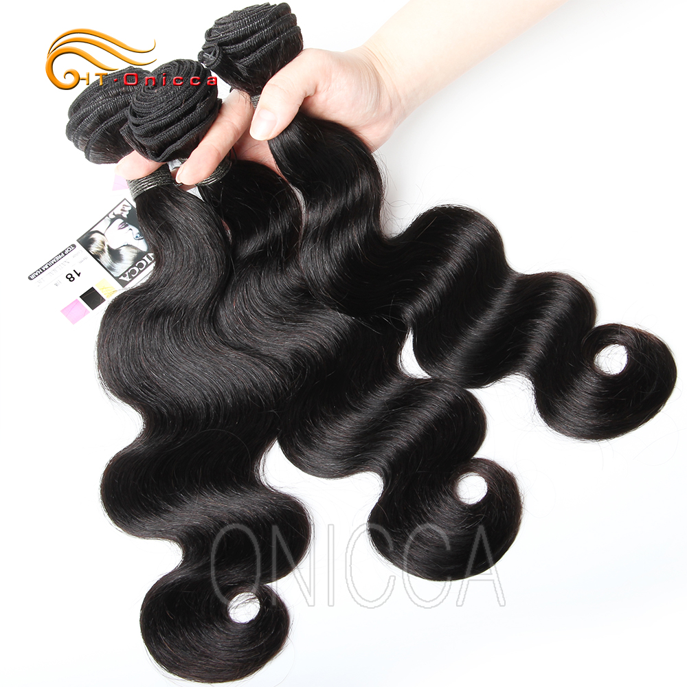Htonicca Body Wave Hair Bundles Peruvian Hair Weave Bundles 100% Human Hair Bundles Natural Non Remy Hair Weave 1 3 4 Pieces