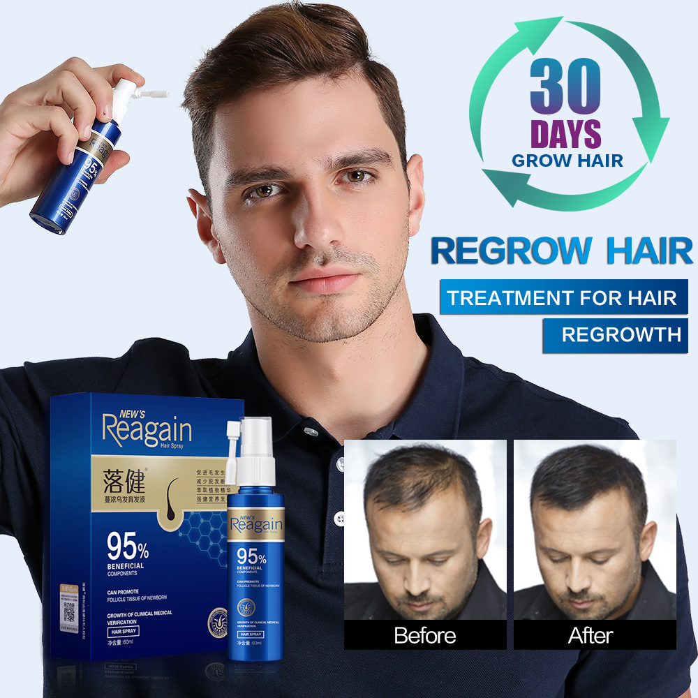 Hair Rapid Growth Spray for Men's Body and Chest and Eyebrows and Beard Thick Hair Treatment Loss Product 60ml and 20ml image