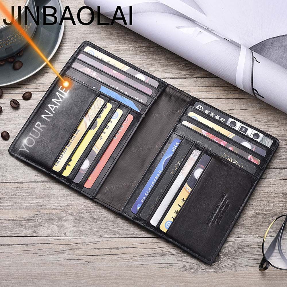 Name Engraving Men Wallets Slim 100% Genuine Cow Leather Card Wallet Thin Vintage High Quality Card Holder Men Wallets