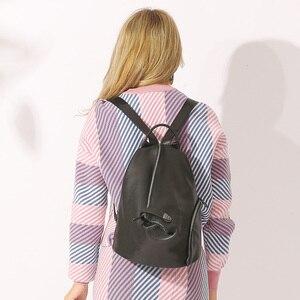 Image 3 - Zency 100% en cuir véritable quotidien sac à dos décontracté pour les femmes classique noir étudiant cartable Vintage dame sac à dos de haute qualité