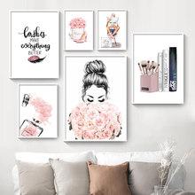 Nórdico cuadro sobre lienzo para pared pestañas negro los labios de las mujeres cartel simplicidad impresión de libros foto moderno salón decoración belleza