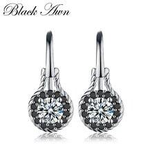 [Черный AWN] Настоящие 2,6 г 925 пробы серебряные серьги, хорошее ювелирное изделие, цветок, черная шпинель, серьги для помолвки, свисающие серьги для женщин T092