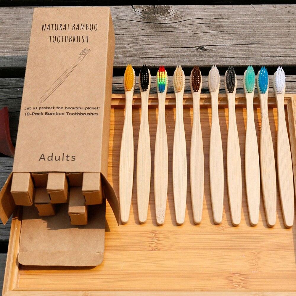 Brosse à dent en bambu par 10 emballés individuellement