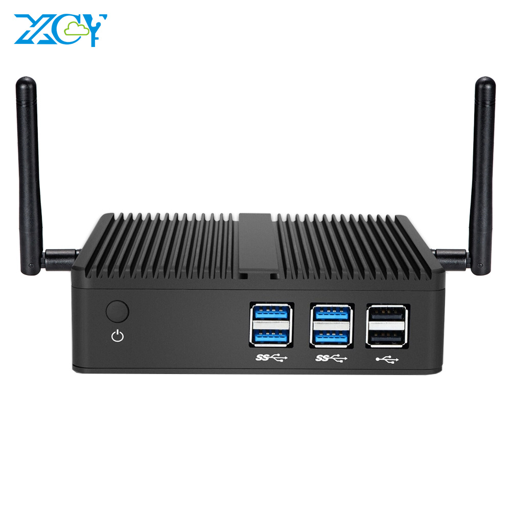 XCY Mini PC Intel Celeron 3855U Windows 10 WiFi HDMI VGA 6*USB HTPC Fanless Compact Office Computer