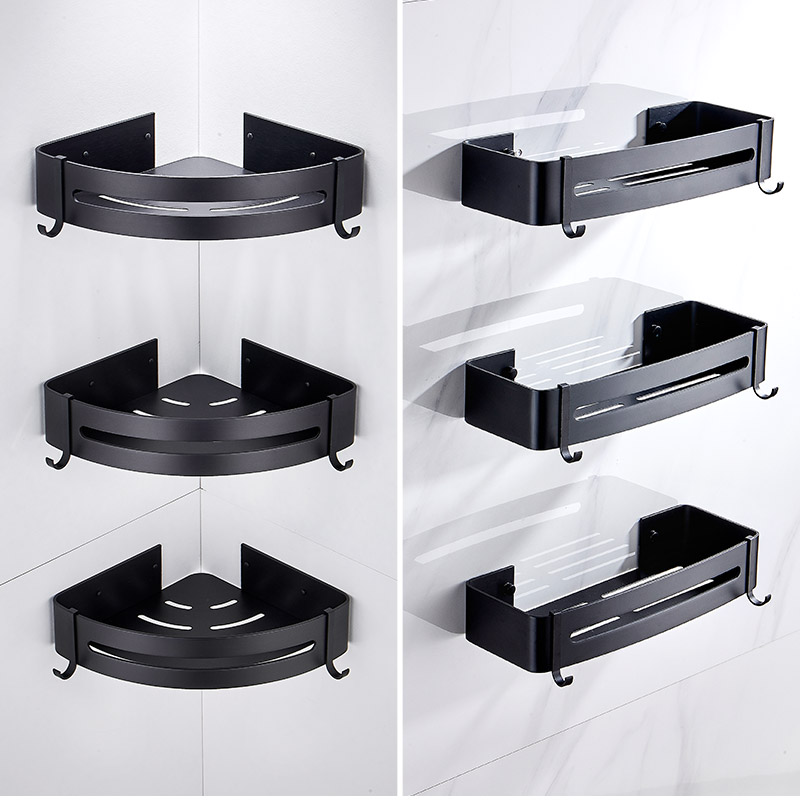 Space aluminum fan-shaped corner shelf toilet storage floating bathroom wall estantes esquineros para cocina outlet shower rack