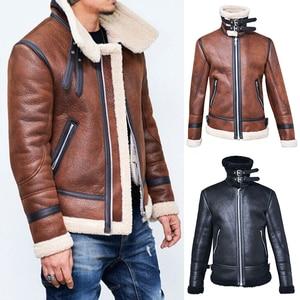 JODIMITTY 2020 Winter Men Leather Fur Coat Jacket Slim Faux Leather Motorcycle PU Faur Jacket Long-sleeve Winter Outerwear Coats