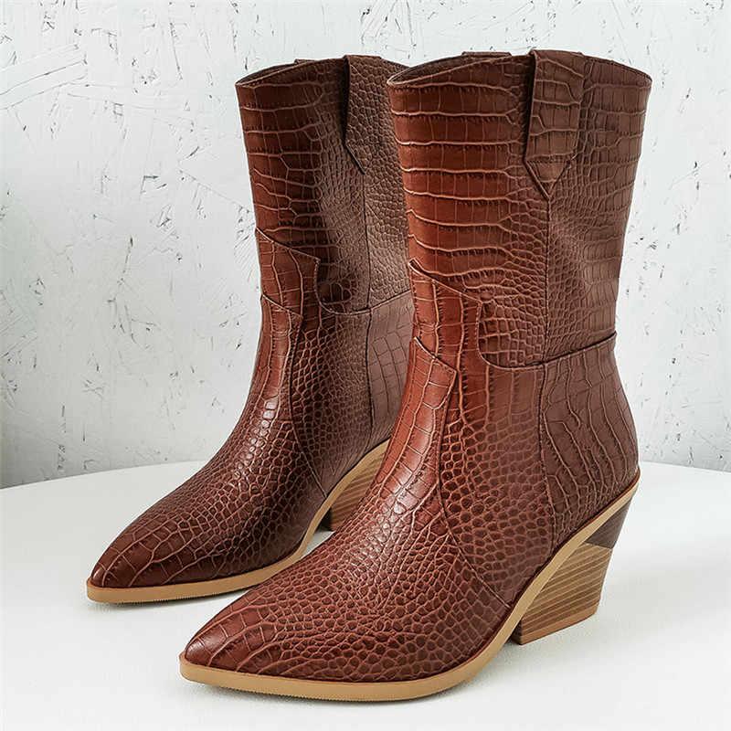 MORAZORA 2020 yeni marka kadın çizmeler sivri burun kare topuk sonbahar kış kar botları kısa bayanlar batı yarım çizmeler kadınlar için