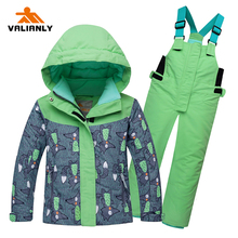 2019 New Girls Ski Suit Winter Kids Snowsuit Children Sets Hooded Jacket Pants Outdoor Waterproof Windproof Sport
