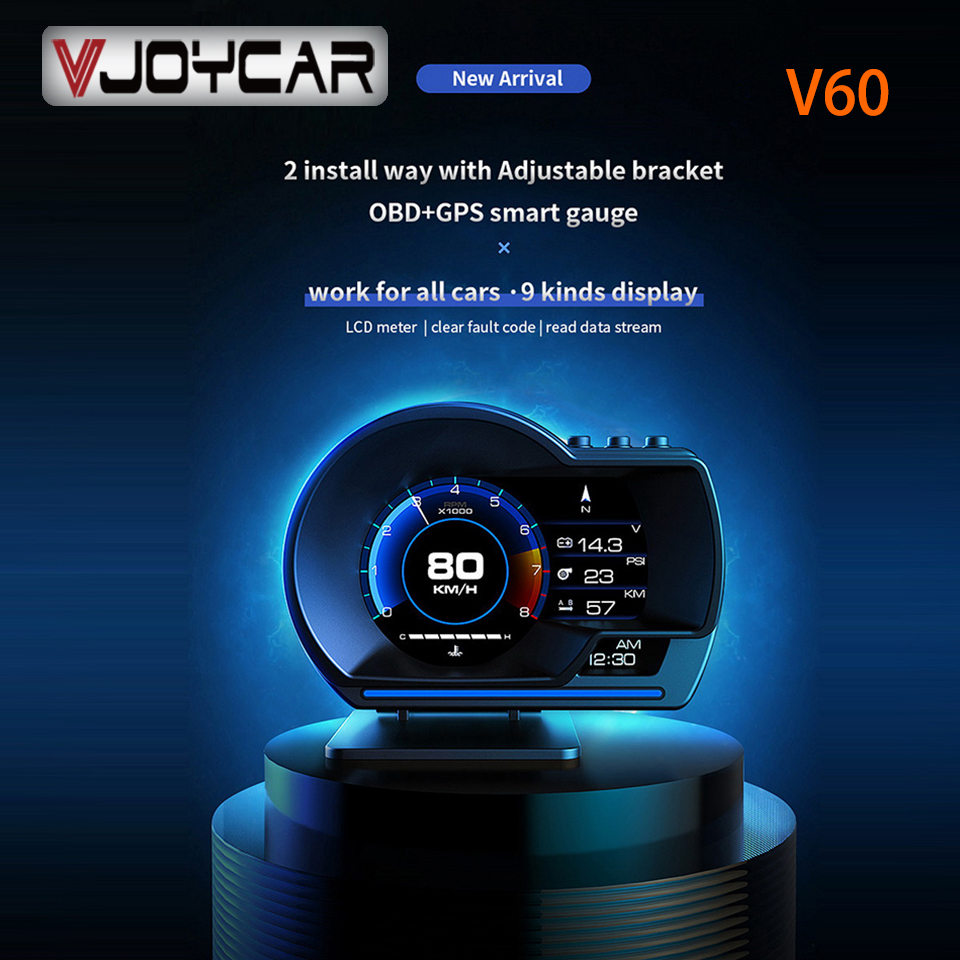 Vjoycar V60 plus récent affichage tête haute affichage automatique OBD2 + GPS voiture intelligente HUD jauge numérique odomètre alarme de sécurité eau et huile temp RPM
