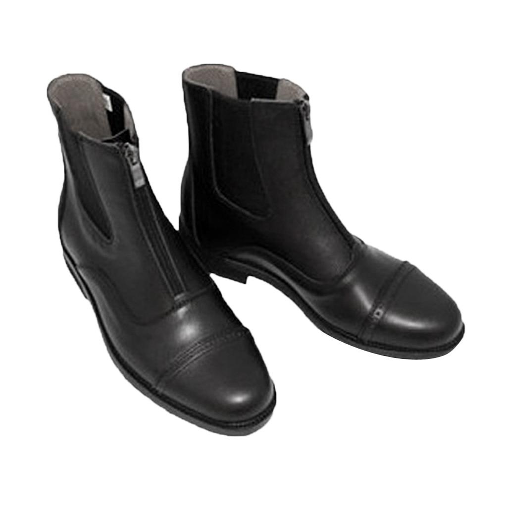 Paddock & Jodhpur Boots Zip Front Horse Riding Boots Waterproof Black