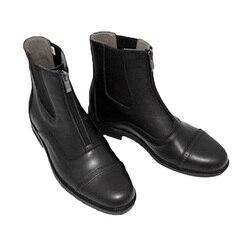 Paddock & Jodhpur Stiefel Zip Vorne Reiten Stiefel Wasserdicht Schwarz
