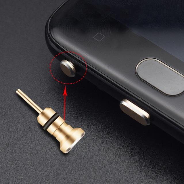 Aluminium Alloy Phone 3.5mm Earphone Jack Dust Plug 2in1 Sim Card Tray Eject Pin Tool Dustproof Cap Gadget For iPhone 6 6s 5s 5 3