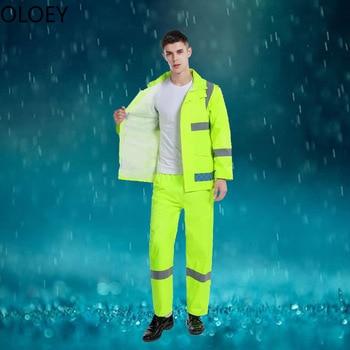 Survival Reflective Raincoat Suit Yeloow Portable Raincoat Thickened Waterproof Rain Coat Men Jacket Motorcycle Raincoat Hooded