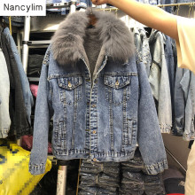 Autumn Winter Coat Women New Loose Furry Thickened Short Real Hair Collar Jeans Warm Coats Casaco Feminino