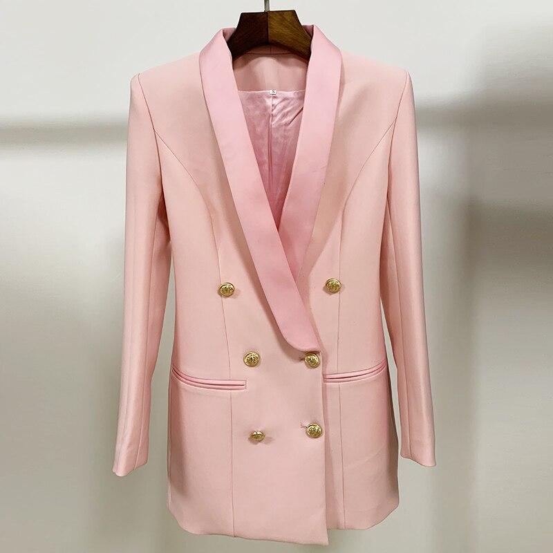 Image 2 - HIGH QUALITY Newest 2020 Stylish Designer Blazer Womens Metal  Lion Buttons Shawl Collar Long Blazer JacketBlazers