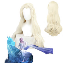 Princess Elsa Ice Snow Queen Long Wavy Blonde Loose Wave Cosplay Halloween Carnival Synthetic Hair + Free Wig Cap(China)