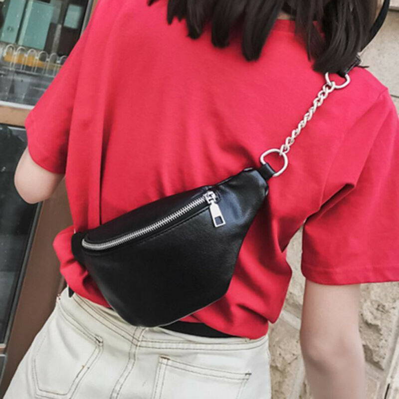 Fashion Chain Fanny Pack Banana Waist Bag New Brand Belt Women Waist Pack PU Leather Chest Belly Bag High Quality Phone Pouch