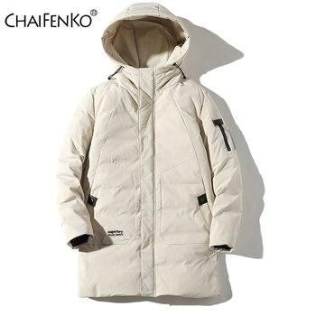 CHAIFENKO Brand Winter Warm Long Down Jacket Men Windproof Thick Hooded Jacket Parkas Men Autumn Fashion Streetwear Casual Coat недорого