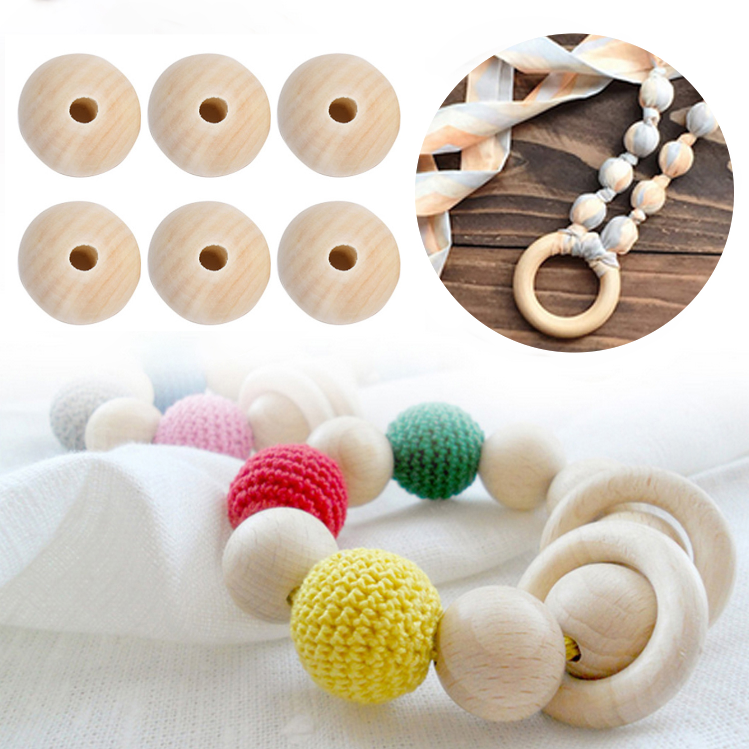 Kids 50pcs 20mm Unfinished Round Natural Wood Beads Loose Wooden Bead Ball Spacer DIY Wooden Making Bracelet Jewelry Beading Toy