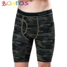Boxer Long en coton pour homme, sous-vêtement de Camouflage, avec volant, culotte masculine, marque confortable, 2020
