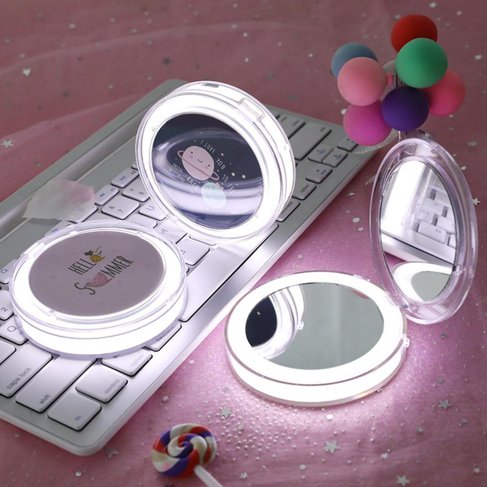 LED Mini Makeup Mirror Hand Held Fold Small Portable Micro USB Connect Cable Chargeableable Cosmetic Mirror Makeup Tool