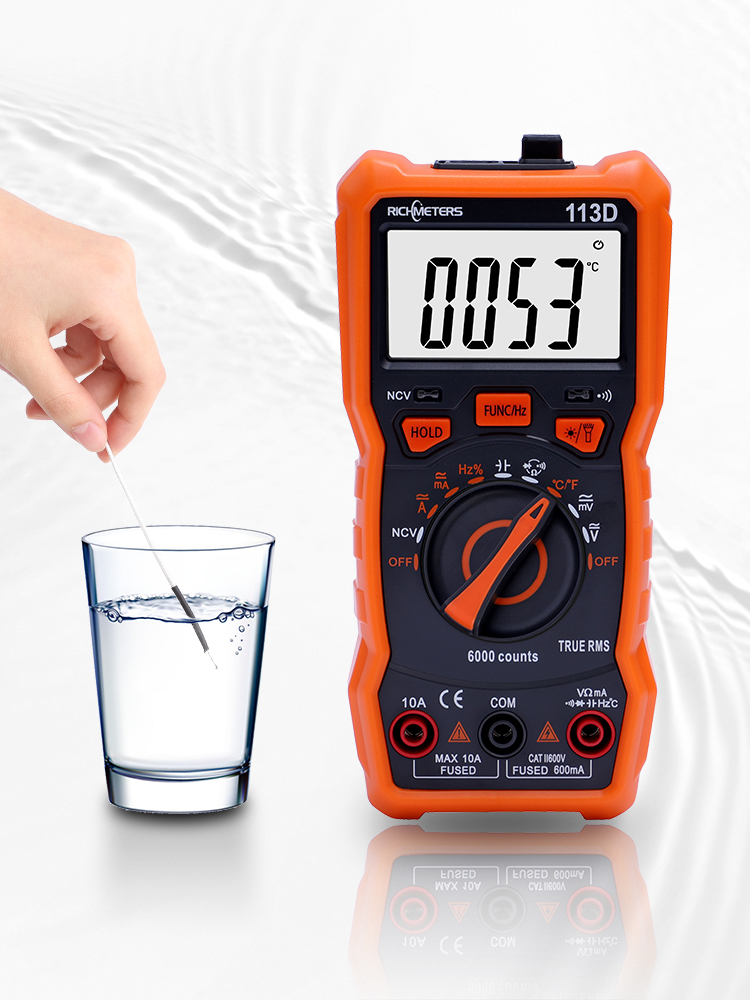 RICHMETERS Digital Flash-Light Voltage-Meter NCV Auto Ranging 6000 Counts AC/DC Large-Screen