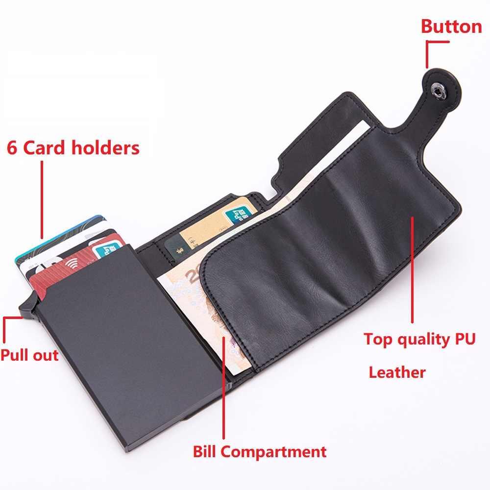 Hommes RFID bouton crédit porte-carte de haute qualité en métal en aluminium Auto Pop-up RFID étui pour carte d'identité noir portefeuille porte-monnaie
