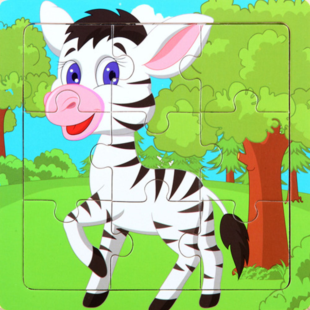 Children Educational Toy Wooden Cartoon Animal Puzzles For 1~5 Years Old Boys And Girls