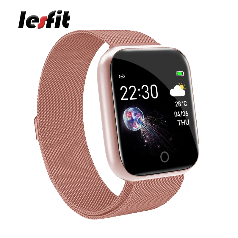 Lesfit Pink Stainless Steel Smart Women Watch For Android Electronics Smartwatch Men Clock Fitness HR/BP Rate Tracker Wristbands