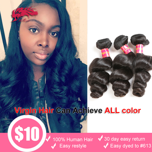 Brazilian Virgin Hair Loose Wave 3 Pcs Lot Human Hair Weave Natural Color Ali Queen Hair Products Unprocessed Hair Extensions