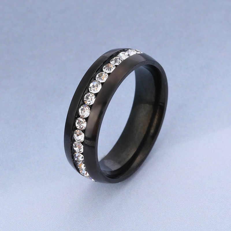 黒ステンレス鋼リング女性ローズゴールドリング男性ジュエリーカップルの婚約指輪男性の恋人の色リング女性のアクセサリー